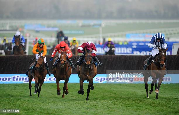 McNamara riding Teaforthree clear the last to win The Diamond Jubilee National Hunt Steeple Chase on ladies day during day two of the Cheltenham...