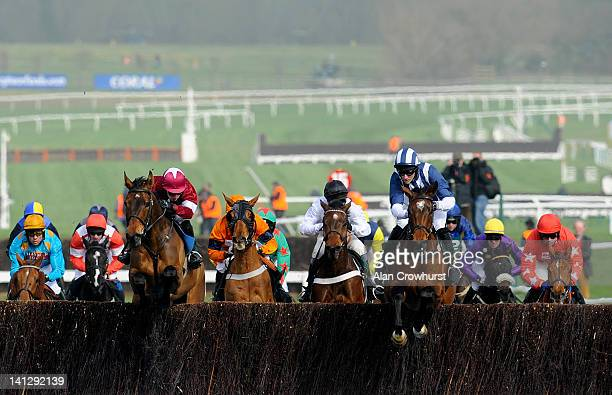 McNamara riding Teaforthree on their way to winning The Diamond Jubilee National Hunt Steeple Chase on ladies day during day two of the Cheltenham...