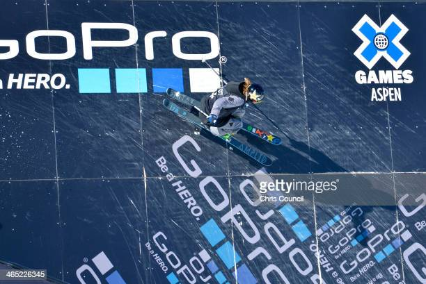 McRae Williams competes in the men's ski slopestyle final Winter XGames 2014 en route to earning the silver medal at Buttermilk Mountain on January...