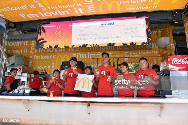 McRig personnel pose for a photo at day one of the Pool Groove sponsored by McDonald's during the 2017 BET Experience at Gilbert Lindsey Plaza on...
