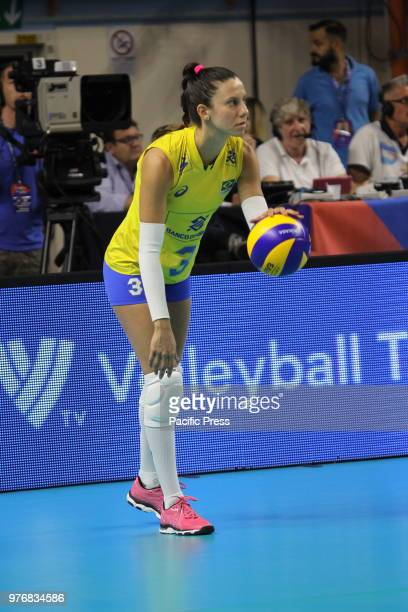 Mácris Carneiro during the FIVB Volleyball Nations LeagueWomen 2018 match against Italy and Brazil Final result Italy vs Brazil 32...