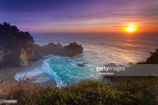 mcway cove at sunset - mcway falls stock pictures, royalty-free photos & images