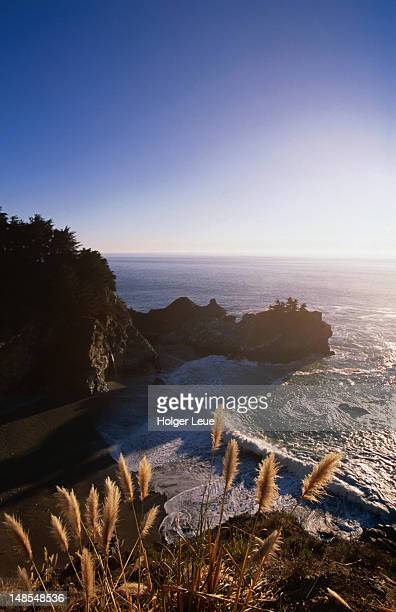 mcway falls and coastline, julia pfeiffer burns park, big sur. - mcway falls stock pictures, royalty-free photos & images