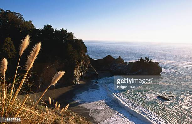 mcway falls and pacific ocean. - mcway falls stock pictures, royalty-free photos & images