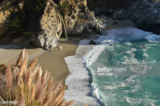 mcway falls at julia pfeiffer burn state park - mcway falls stock pictures, royalty-free photos & images