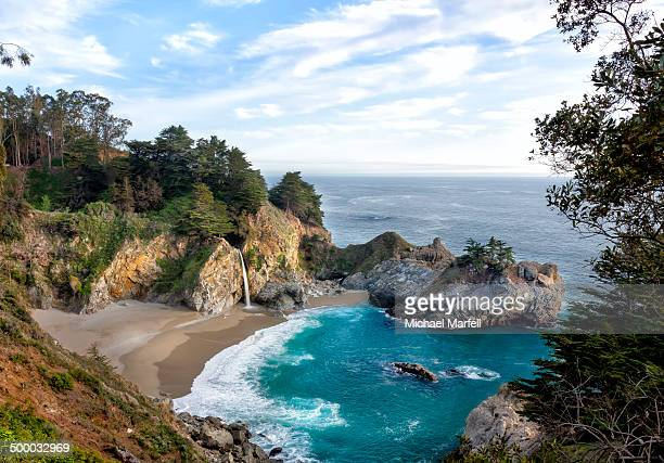 mcway falls - big sur - mcway falls stock photos and pictures