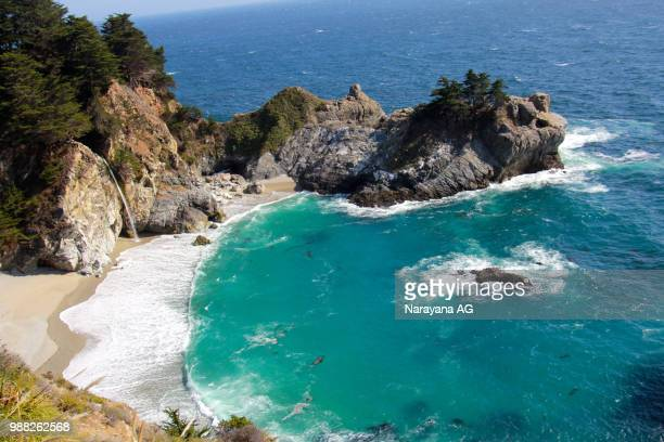 mcway falls . big sur - mcway falls stock pictures, royalty-free photos & images