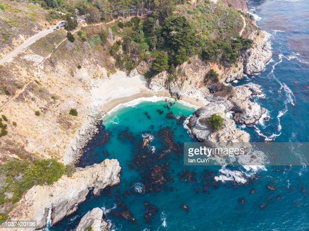 McWay Falls in Big Sur, exploring California's Central Coast Charms, the rugged Big Sur coastline along Highway 1, between Carmel Highlands and Big Sur, Monterey County, California USA. (Day)