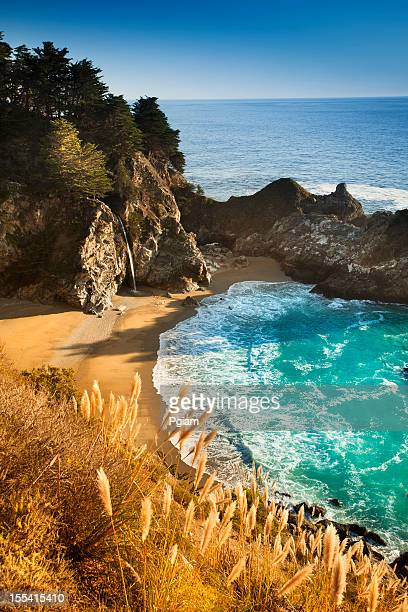 mcway falls, julia pfeiffer state park, big sur, california, usa - monterrey stock pictures, royalty-free photos & images