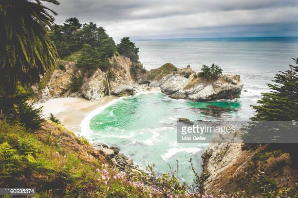 mcway falls on big sur coast - central california stock pictures, royalty-free photos & images