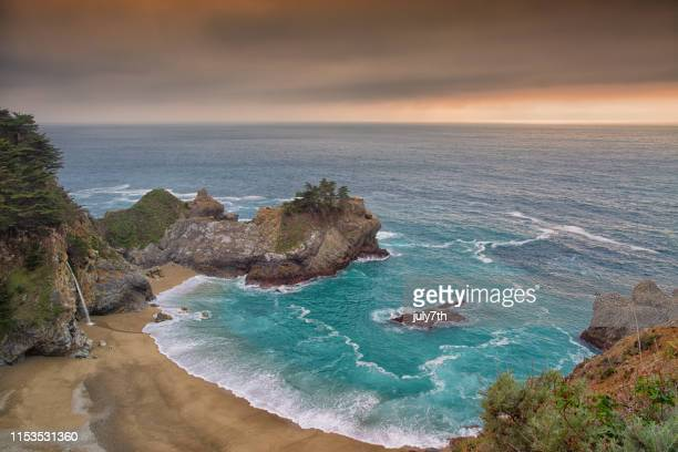 mcway waterfall in big sur - big sur stock pictures, royalty-free photos & images