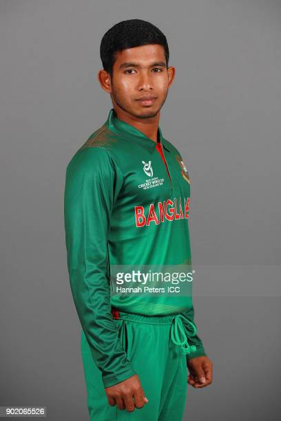 Md Rakib poses during the Bangladesh ICC U19 Cricket World Cup Headshots Session at Rydges Christchurch on January 7 2018 in Christchurch New Zealand