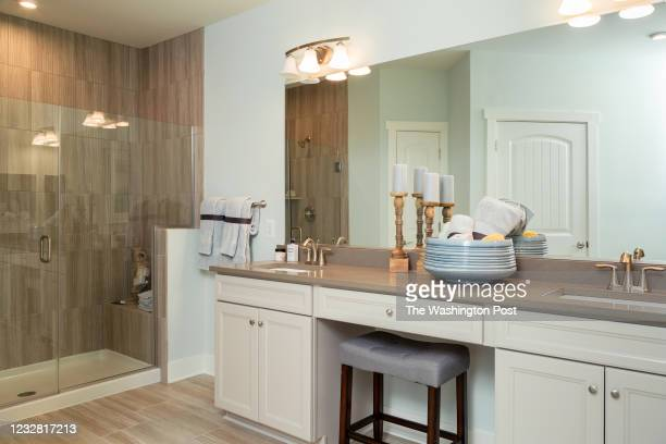 Master Bath in the Severn Model Condo at Four Seasons at Kent Island on April 22, 2021 in Chester Maryland.