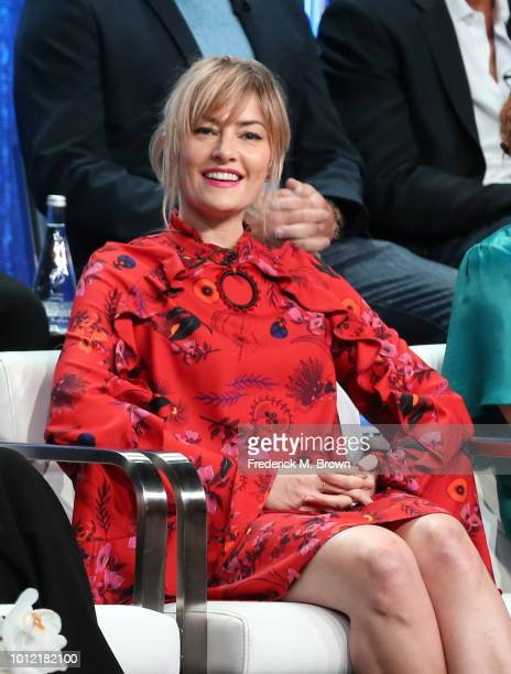 Mädchen Amick from Riverdale speaks onstage at the CW Network portion of the Summer 2018 TCA Press Tour at The Beverly Hilton Hotel on August 6 2018...