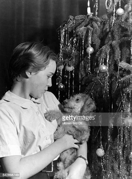 Mädchen mit einem Dackel neben demWeihnachtsbaum veröff 'Wir Hausfrauen' 15 / 1950