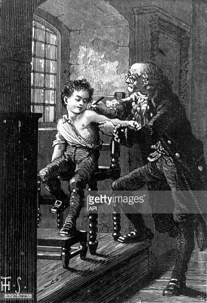 Médecin vaccinant un enfant contre la variole gravure de Théophile Schuler