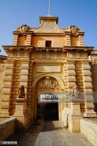 Mdina Gate in the Sunshine, Dusk, Mdina, Malta