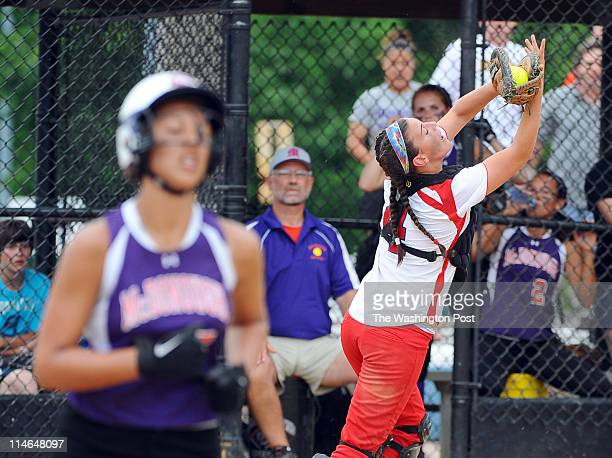 Lansdowne C Sera Stull hauls in a pop foul to get the out on McDonough hitter Erin Parlett on May 24 2011 in Glen Burnie