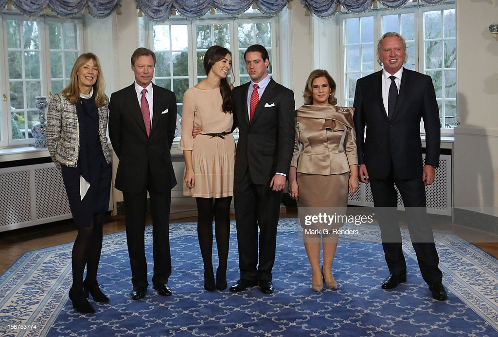 Mdme Lademacher, Grand Duke Henri of Luxembourg, Mademoiselle Claire Lademacher, Prince Felix of Luxembourg, Grand Duchess Maria Teresa of Luxembourg and Mr. Lademacher attend a Portrait Session at Chateau De Berg on December 27, 2012 in Luxembourg, Luxembourg.