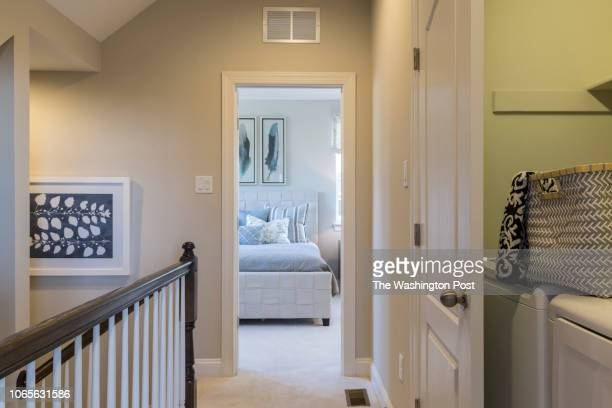 Bedroom level Landing with Laundry in the model home at Annapolis Townes on November 20 2018 in Annapolis Maryland