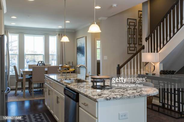 Staircase in the model home at Annapolis Townes on November 20 2018 in Annapolis Maryland