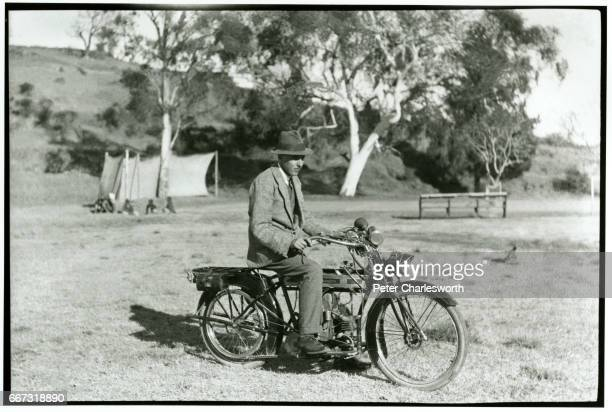 'Me and bike' Lieutenant Edward Fitzgerald Charlesworth poses for a photograph sitting on his Douglas motorcycle Background to this image With the...