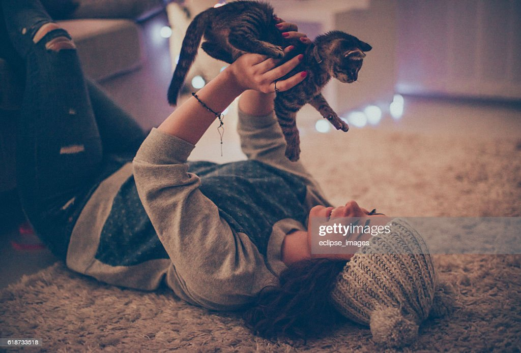 Me and my playful cat on New Year's Eve : Stock-Foto