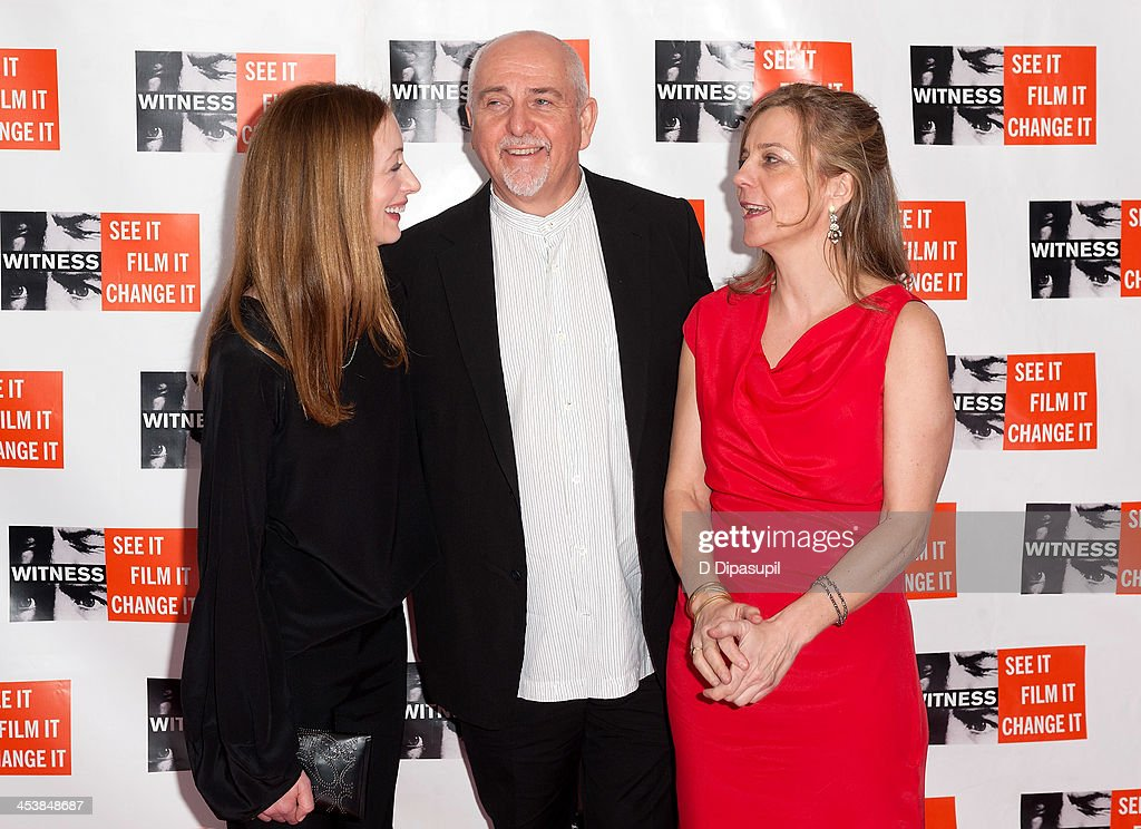 Meabh Flynn, Peter Gabriel, and WITNESS executive director Yvette Alberdingk Thijm attend the 2013 Focus For Change gala benefiting WITNESS at Roseland Ballroom on December 5, 2013 in New York City.