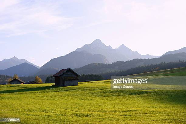 Meadow and karwendel mountains in bavaria