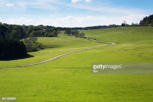 meadow with a road, in the south of germany (baden-württemberg, near bisingen) - grass area stock pictures, royalty-free photos & images