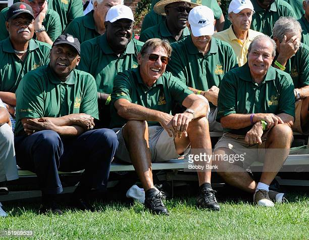 Meadowlark Lemon Joe Namath and Dan Grimaldi attends the Joe NamathMarch of Dimes Celebrity Golf Classic at the Bethpage State Park Golf Course on...