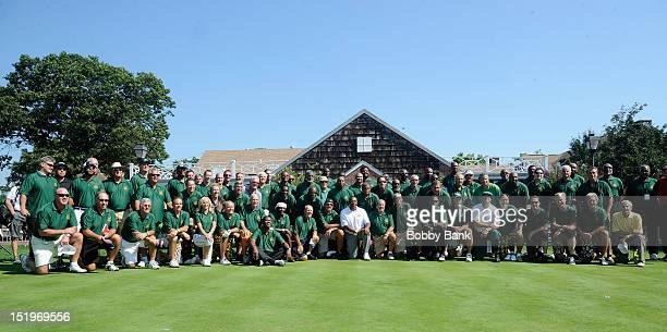 Meadowlark Lemon Joe Namath Dan Grimaldi Kevin Sorbo and golfers attends the Joe NamathMarch of Dimes Celebrity Golf Classic at the Bethpage State...