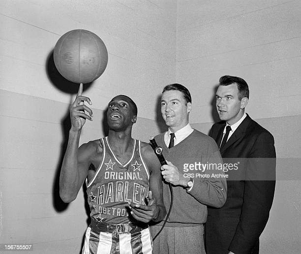 Meadowlark Lemon of the The Harlem Globetrotters being interviewed for CBS Sports Spectacular Image dated November 23 1960