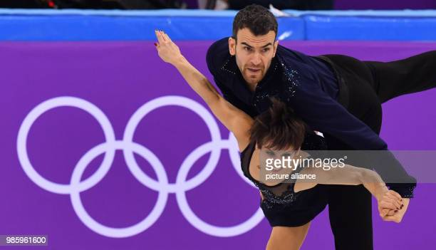 Meagan Duhamel and Eric Radford from Canada in action during the figure skating pairs short program of the 2018 Winter Olympics in the Gangneung Ice...