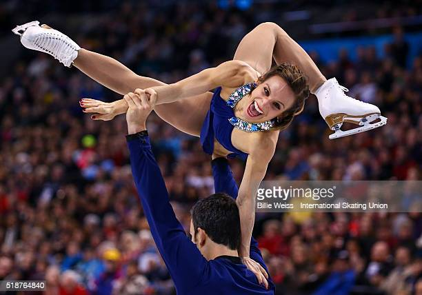 Meagan Duhamel and Eric Radford of Canada compete during Day 6 of the ISU World Figure Skating Championships 2016 at TD Garden on April 2 2016 in...