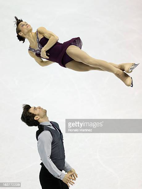 Meagan Duhamel and Eric Radford of Canada compete in the Pairs Free Skating during the 2013 ISU World Figure Skating Championships at Budweiser...