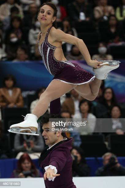 Meagan Duhamel and Eric Radford of Canada compete in the Pairs Free Program during ISU World Figure Skating Championships at Saitama Super Arena on...