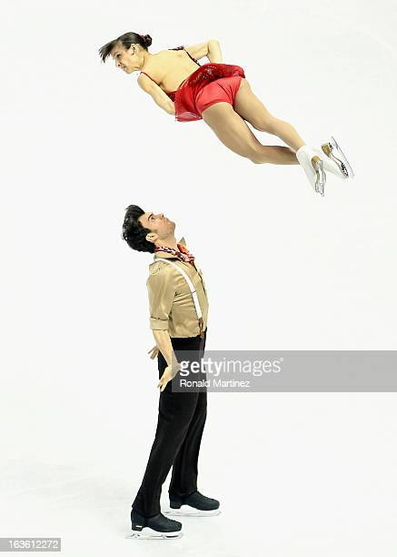 Meagan Duhamel and Eric Radford of Canada compete in the Pairs Short Program during the 2013 ISU World Figure Skating Championships at Budweiser...