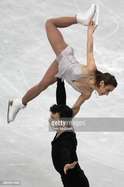 Meagan Duhamel and Eric Radford of Canada compete in the Pairs Short Program during ISU World Figure Skating Championships at Saitama Super Arena on...