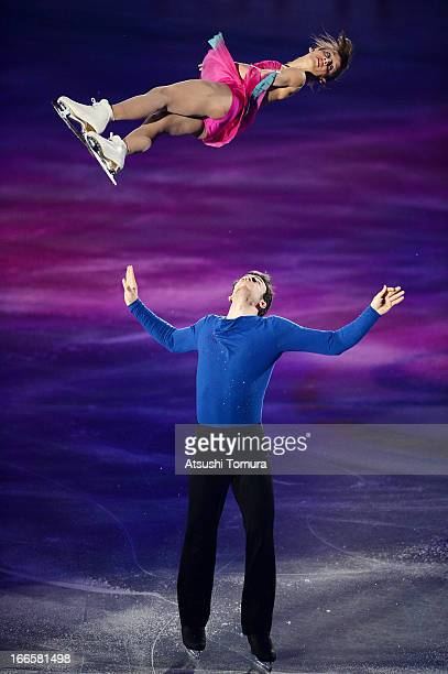 Meagan Duhamel and Eric Radford of Canada perform during day four of the ISU World Team Trophy at Yoyogi National Gymnasium on April 14 2013 in Tokyo...
