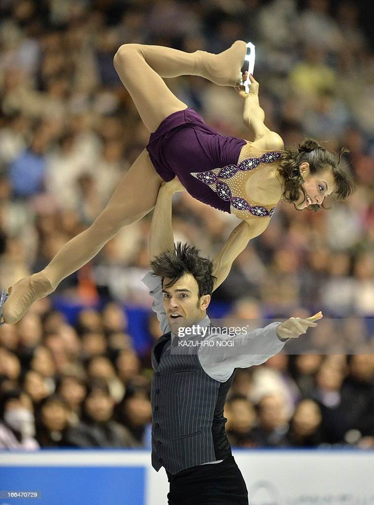 Meagan Duhamel (top) and Eric Radford (bottom) of Canada perform in the pairs free skating event at the World Team Trophy figure skating competition in Tokyo on April 13, 2013.