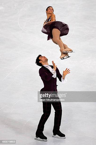 Meagan Duhamel and Eric Radford of Canada perform in the Paris Free Skating during day two of Trophee Eric Bompard ISU Grand Prix of Figure Skating...
