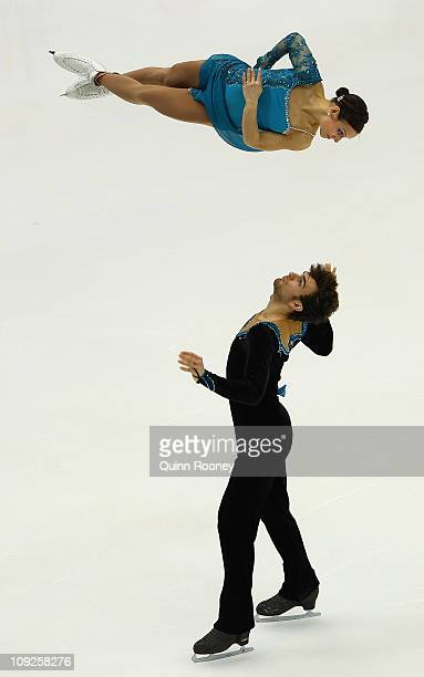 Meagan Duhamel and Eric Radford of Canada skate in the Pairs Free Skating during day two of the Four Continents Figure Skating Championships at...