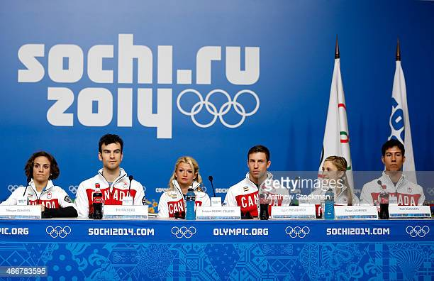 Meagan Duhamel Eric Radford Kristen MooreTowers Dylan Moscovitch Paige Lawrence and Rudi Swiegers attend a Canada Figure Skating pairs press...
