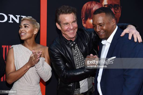 Meagan Good Dennis Quaid and Deon Taylor arrive at the Screen Gems premiere of The Intruder at ArcLight Hollywood on May 01 2019 in Hollywood...