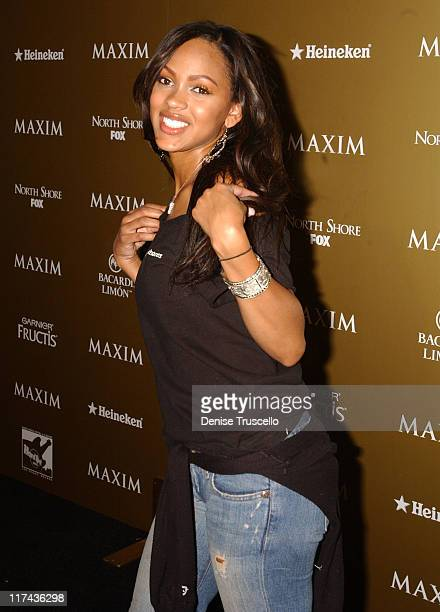 Meagan Good during Maxim Magazine Hot 100 Party in Celebration of the Grand Opening of Body English In the Hard Rock Hotel Casino Red Carpet at Hard...