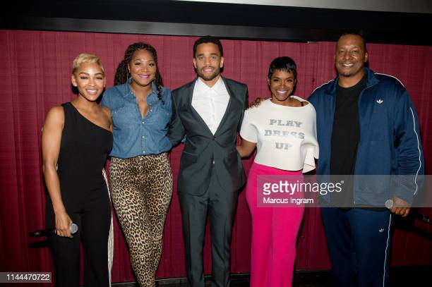 Meagan Good Trina Braxton Michael Ealy Rashan Ali and Deon Taylor attend The Intruder Atlanta at Regal Atlantic Station on April 22 2019 in Atlanta...