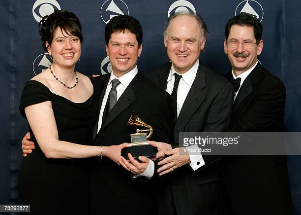 Meagan Hennessey Richard Martin James Brooks and David Giovannoni poses with the GRAMMY for Lost Sounds Blacks and the Birth of the Recording...