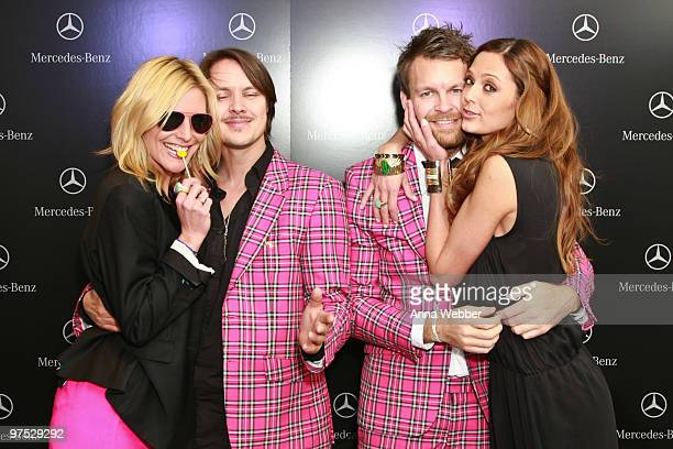 Meaghan Ashley Flaherty Moods of Norway CoFounders Peder Borresen Stefan Dahlkvist and Model Camille Abry arrive at Soho House on March 7 2010 in...