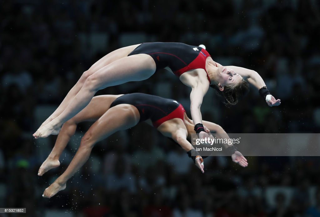 Meaghan Benfeito and Caeli McKay of Canada compete in the preliminary round of the Women's 10m Synchro Platform during day three of the 2017 FINA World Championship on July 16, 2017 in Budapest, Hungary.
